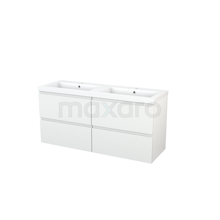 Badkamermeubel 140cm Modulo+ Hoogglans Wit 4 Lades Greeploos Wastafel Mineraalmarmer