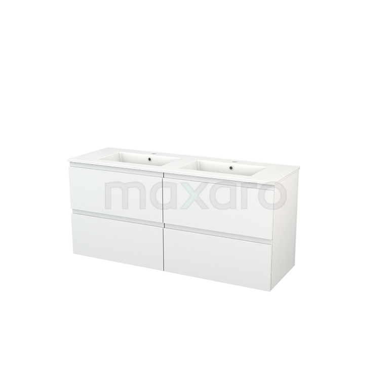 Maxaro Modulo+ BMP004125 Badkamermeubel 140cm Modulo+ Hoogglans Wit 4 Lades Greeploos Keramiek