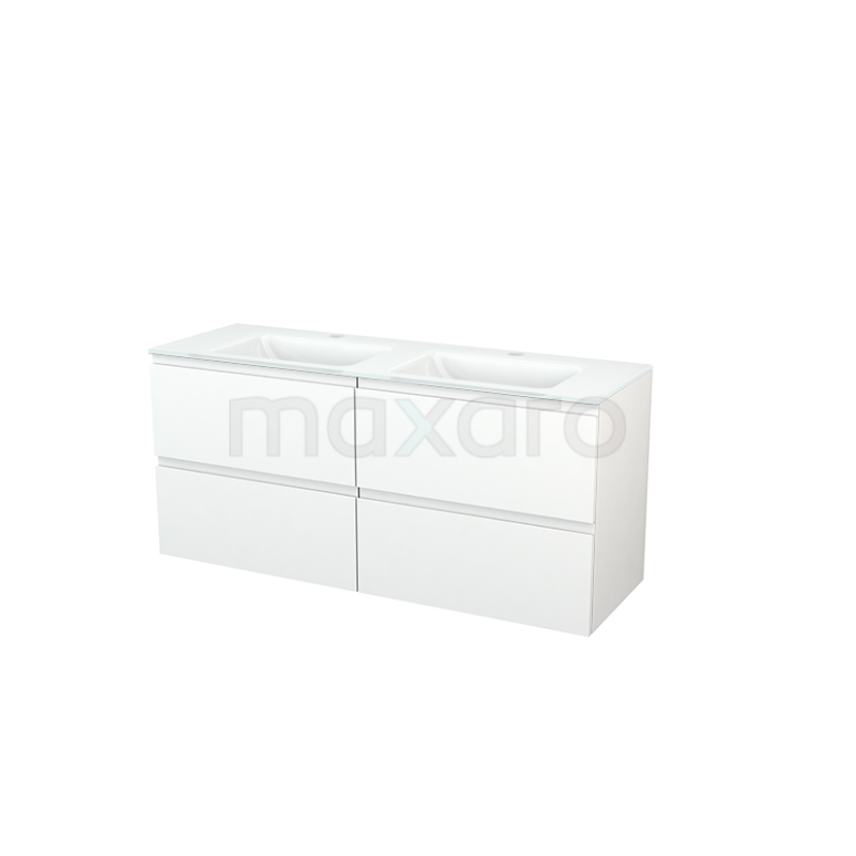 Maxaro Modulo+ BMP004144 Badkamermeubel 140cm Modulo+ Mat Wit 4 Lades Greeploos Glas