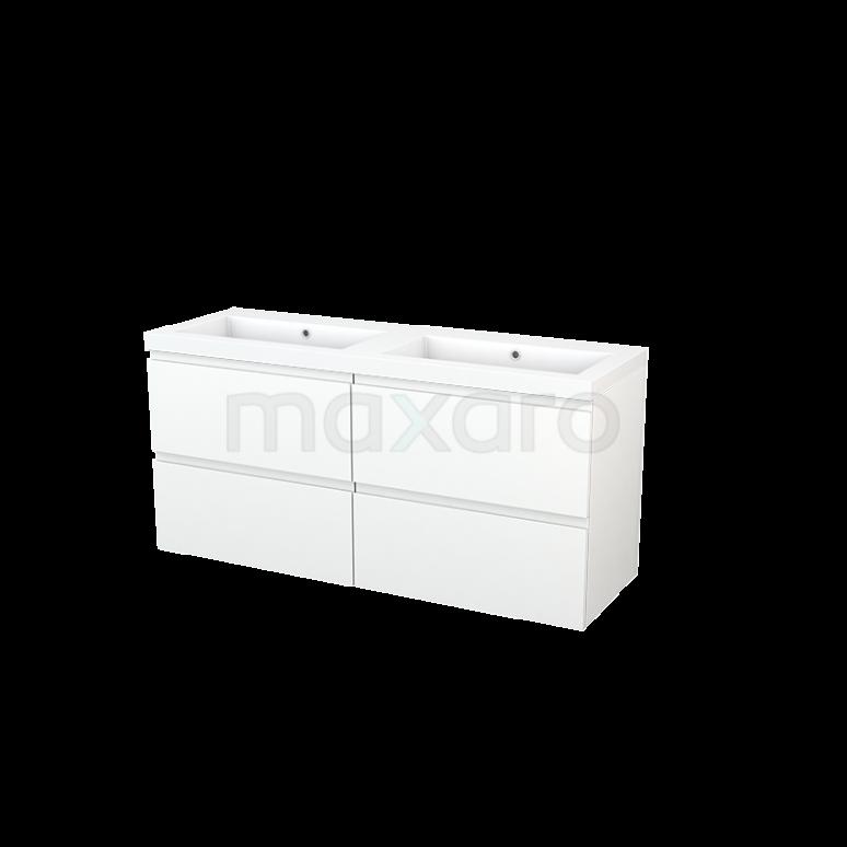 Badkamermeubel 140cm Modulo+ Mat Wit 4 Lades Greeploos Wastafel Mineraalmarmer