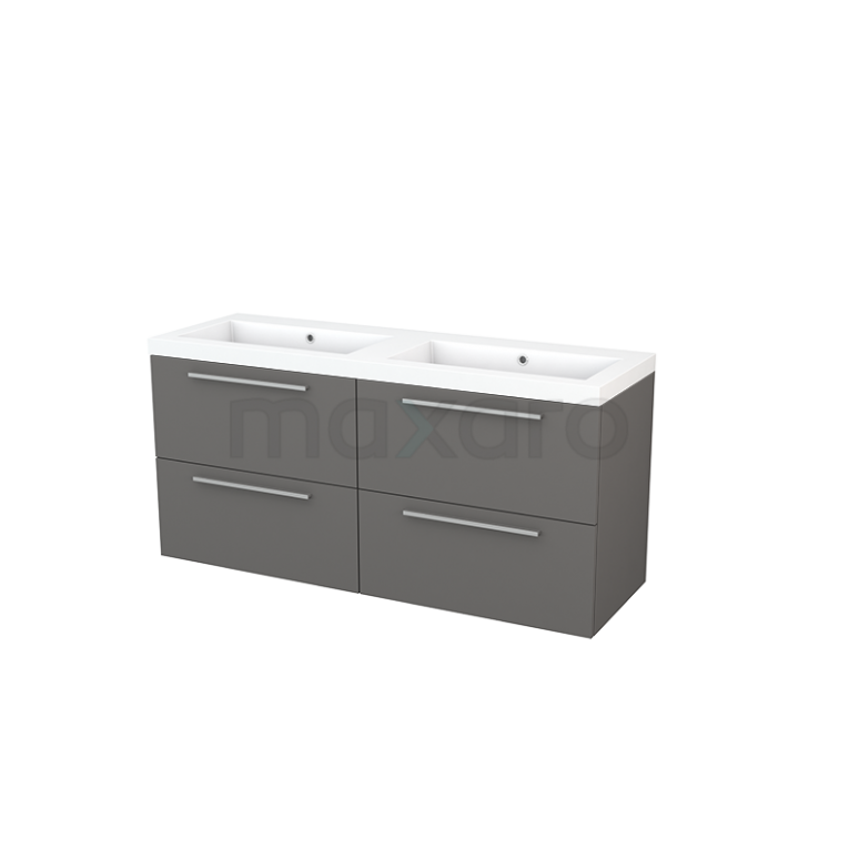 Maxaro Modulo+ BMP004152 Badkamermeubel 140cm Modulo+ Basalt 4 Lades Vlak Wastafel Mineraalmarmer
