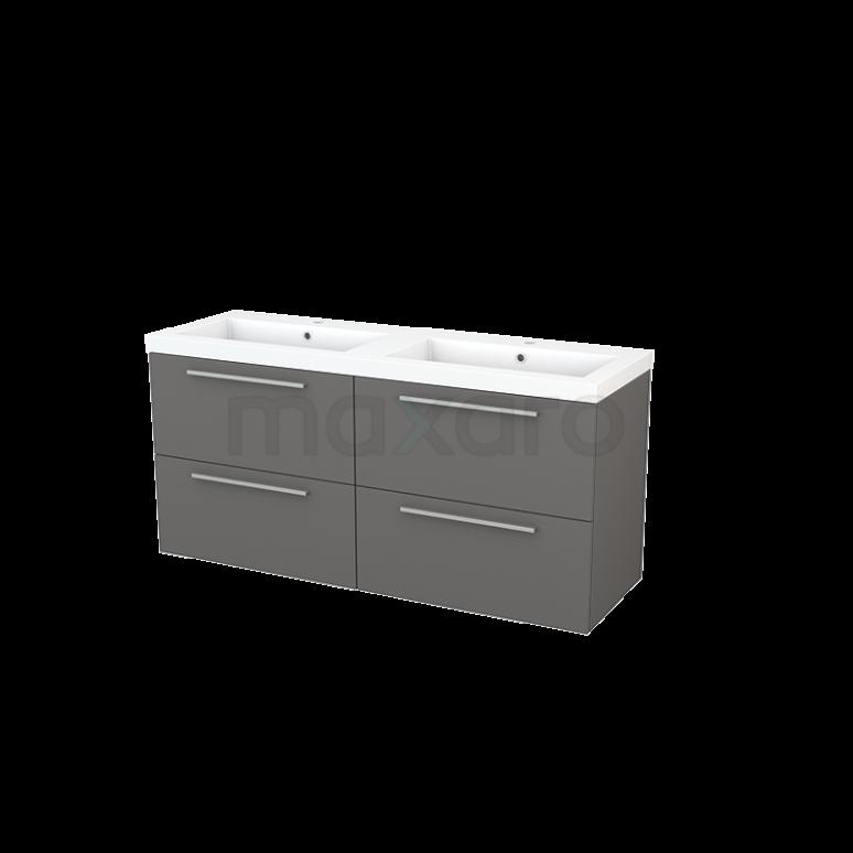 Badkamermeubel 140cm Modulo+ Basalt 4 Lades Vlak Wastafel Mineraalmarmer