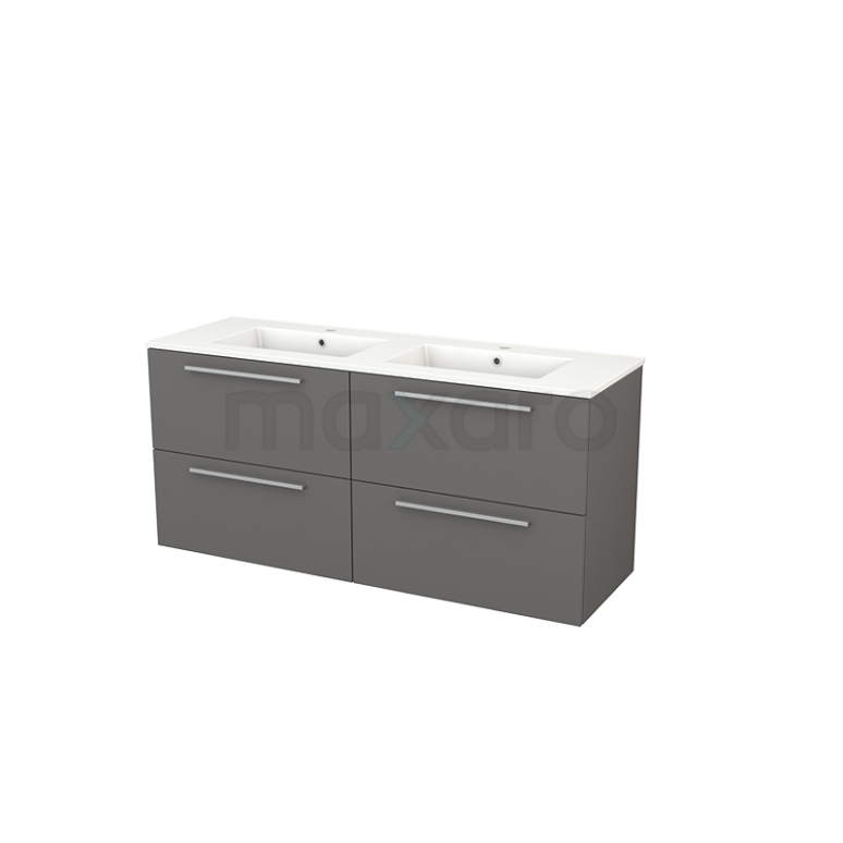 Badkamermeubel 140cm Modulo+ Basalt 4 Lades Vlak Wastafel Keramiek