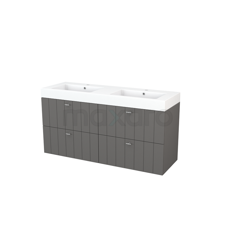 Badkamermeubel 140cm Modulo+ Basalt 4 Lades Lamel Wastafel Mineraalmarmer