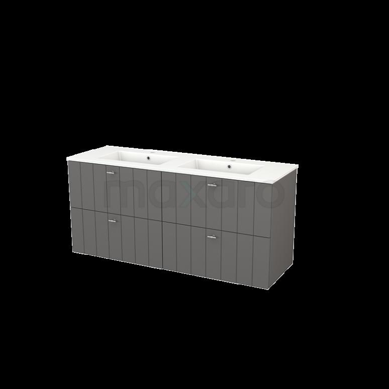 Badkamermeubel 140cm Modulo+ Basalt 4 Lades Lamel Wastafel Keramiek