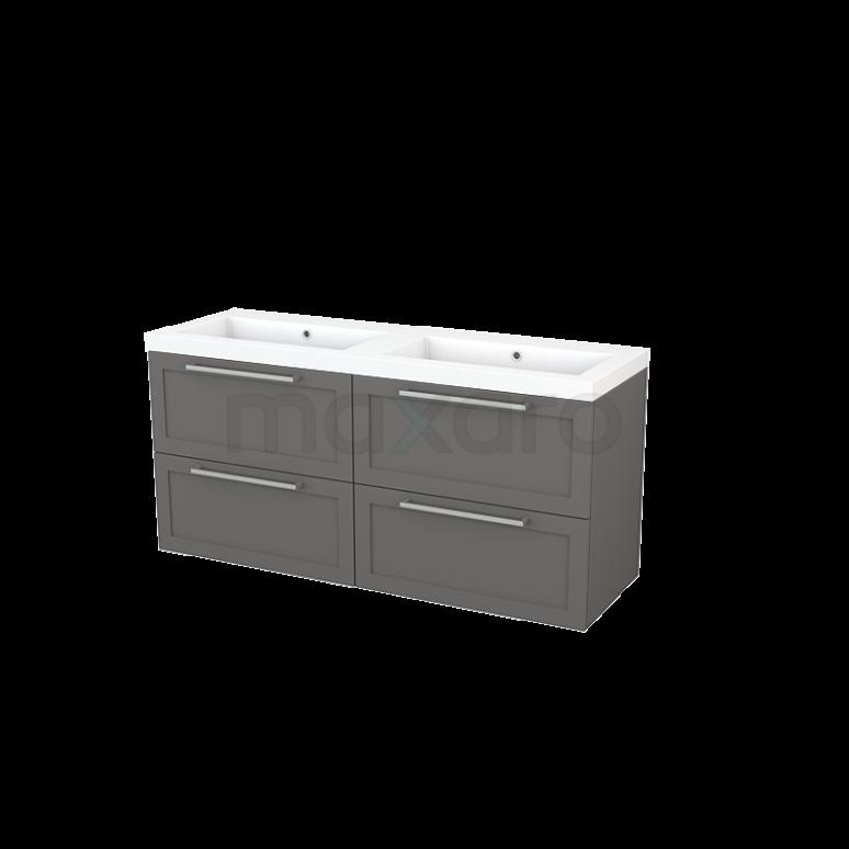 Badkamermeubel 140cm Modulo+ Basalt 4 Lades Kader Wastafel Mineraalmarmer
