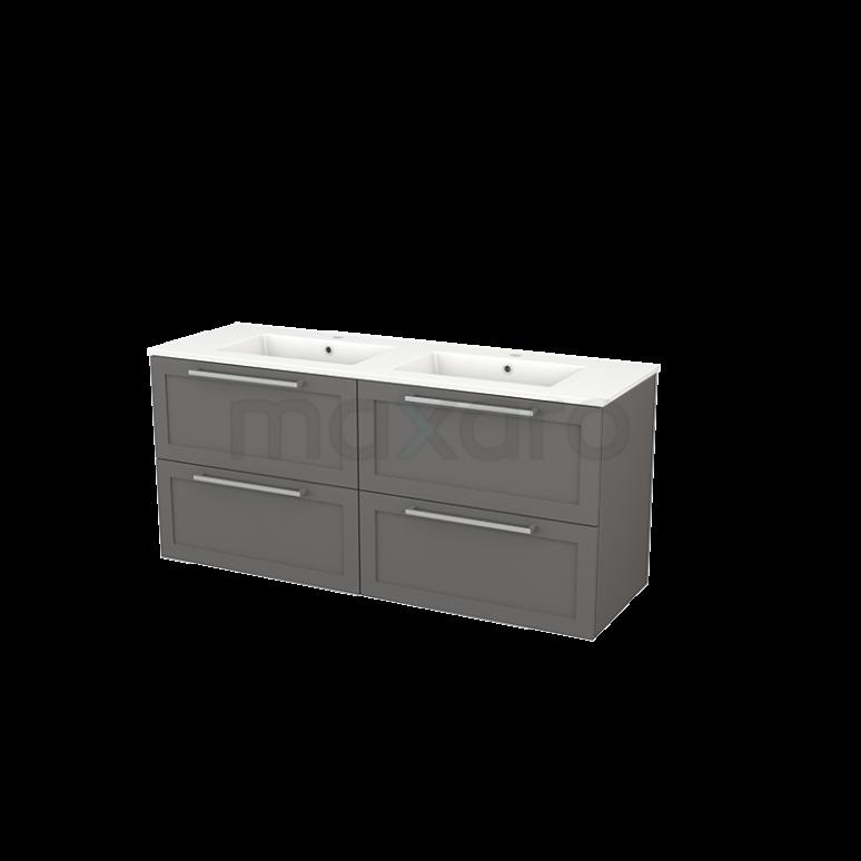 Badkamermeubel 140cm Modulo+ Basalt 4 Lades Kader Wastafel Keramiek