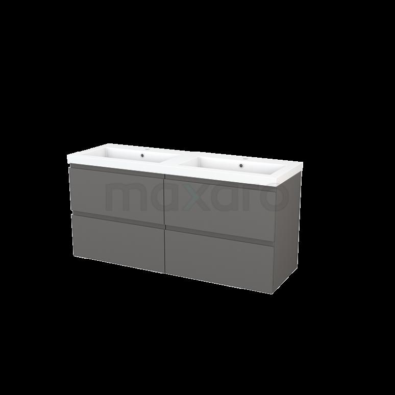 Badkamermeubel 140cm Modulo+ Basalt 4 Lades Greeploos Wastafel Mineraalmarmer