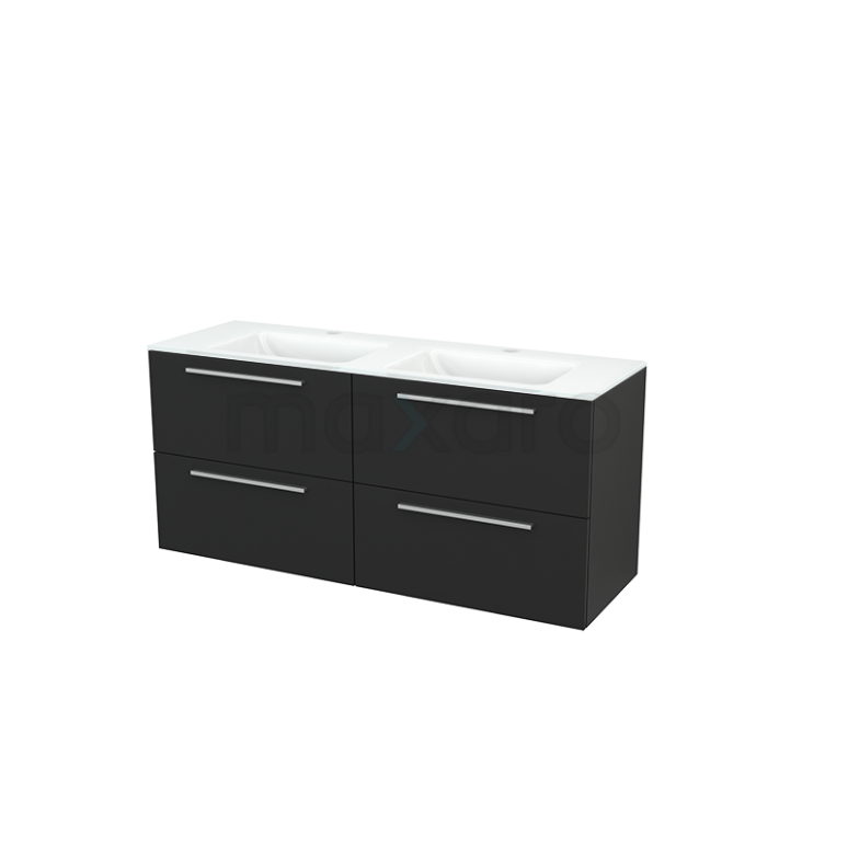 Maxaro Modulo+ BMP004174 Badkamermeubel 140cm Modulo+ Carbon 4 Lades Vlak Wastafel Glas