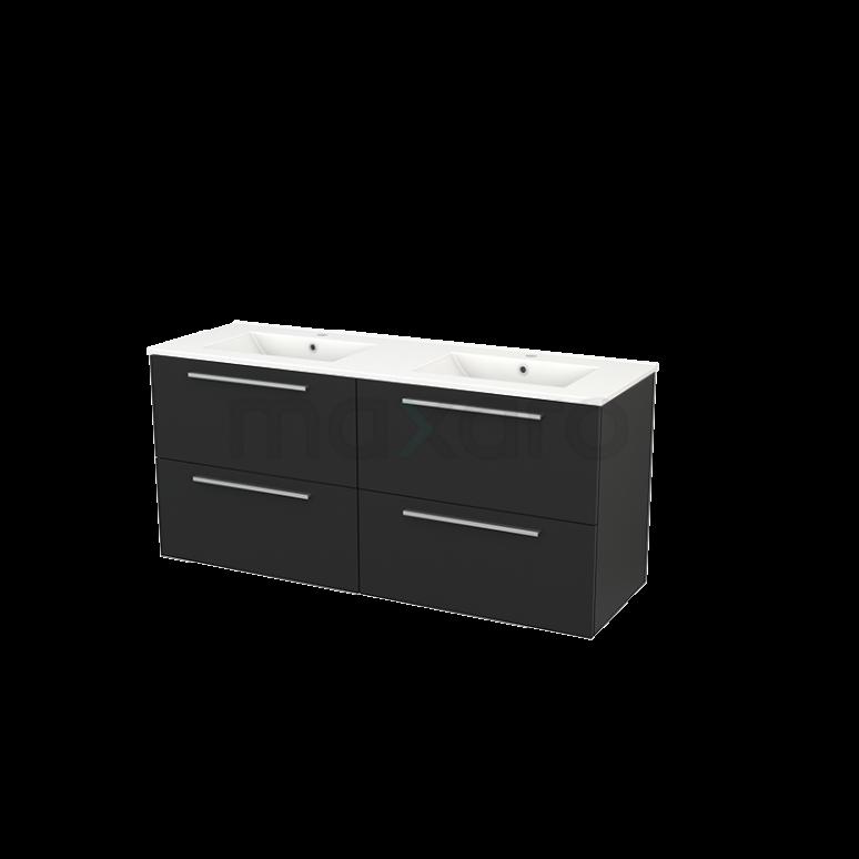 Badkamermeubel 140cm Modulo+ Carbon 4 Lades Vlak Wastafel Keramiek