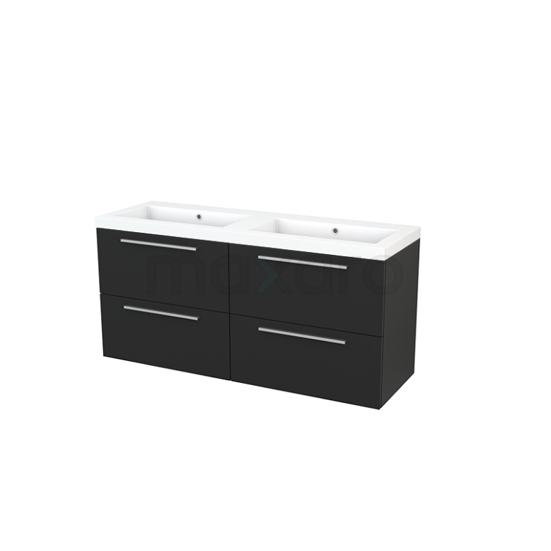 Badkamermeubel 140cm Modulo+ Carbon 4 Lades Vlak Wastafel Mineraalmarmer