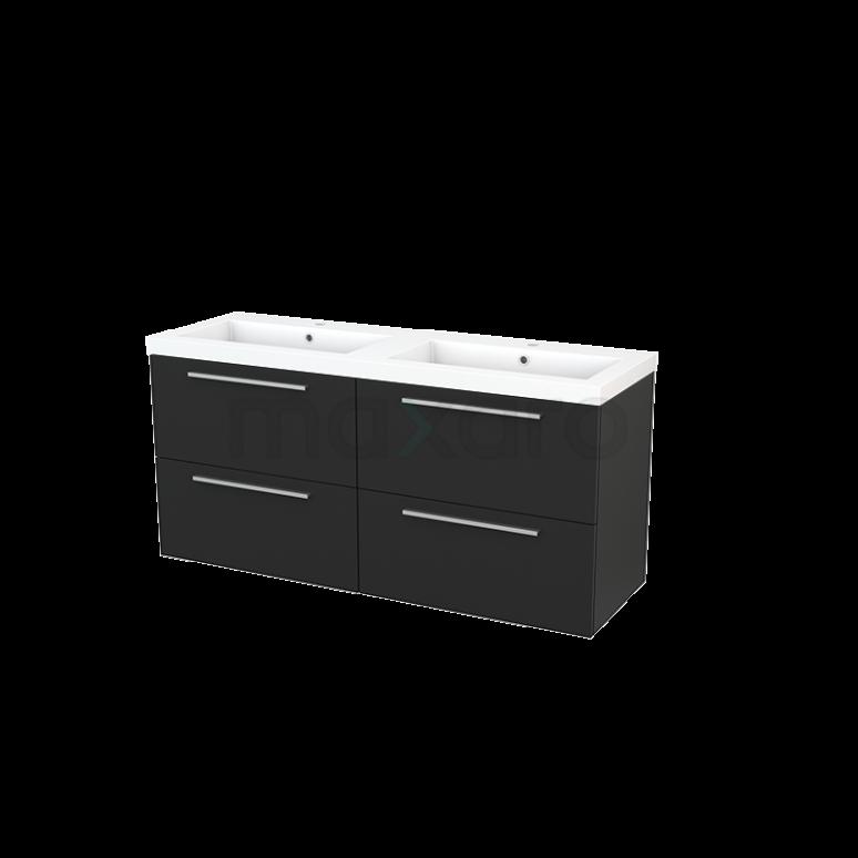 Maxaro Modulo+ BMP004177 Badkamermeubel 140cm Modulo+ Carbon 4 Lades Vlak Wastafel Mineraalmarmer