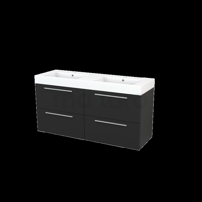 Maxaro Modulo+ BMP004178 Badkamermeubel 140cm Modulo+ Carbon 4 Lades Vlak Mineraalmarmer