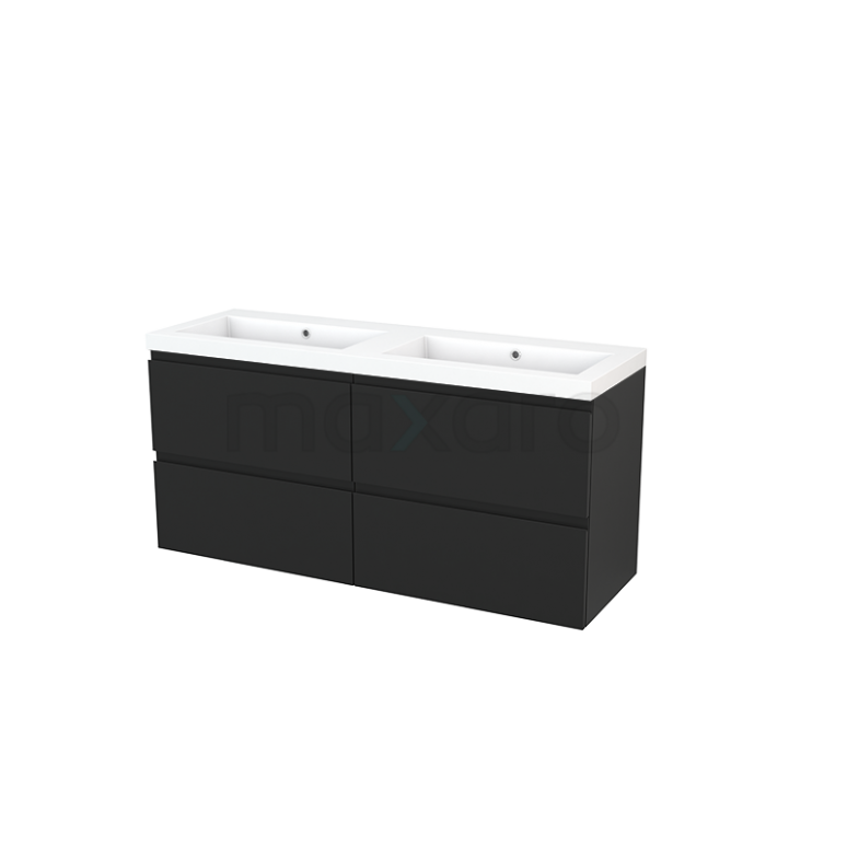 Badkamermeubel 140cm Modulo+ Carbon 4 Lades Greeploos Wastafel Mineraalmarmer