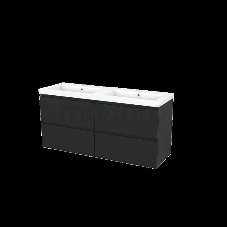 Maxaro Modulo+ BMP004195 Badkamermeubel 140cm Modulo+ Carbon 4 Lades Greeploos Wastafel Mineraalmarmer