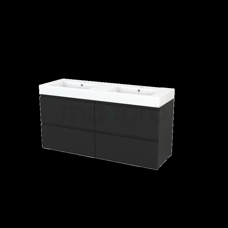 Maxaro Modulo+ BMP004196 Badkamermeubel 140cm Modulo+ Carbon 4 Lades Greeploos Wastafel Mineraalmarmer