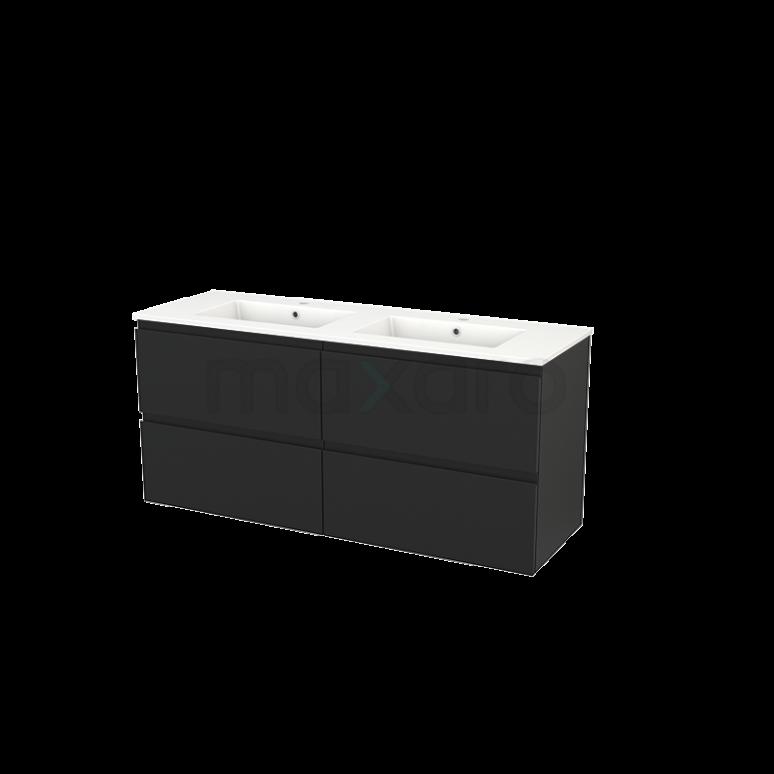 Badkamermeubel 140cm Modulo+ Carbon 4 Lades Greeploos Wastafel Keramiek