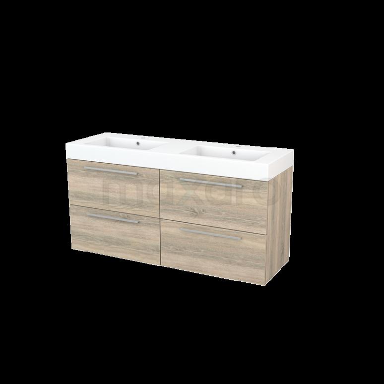 Badkamermeubel 140cm Modulo+ Eiken 4 Lades Vlak Wastafel Mineraalmarmer
