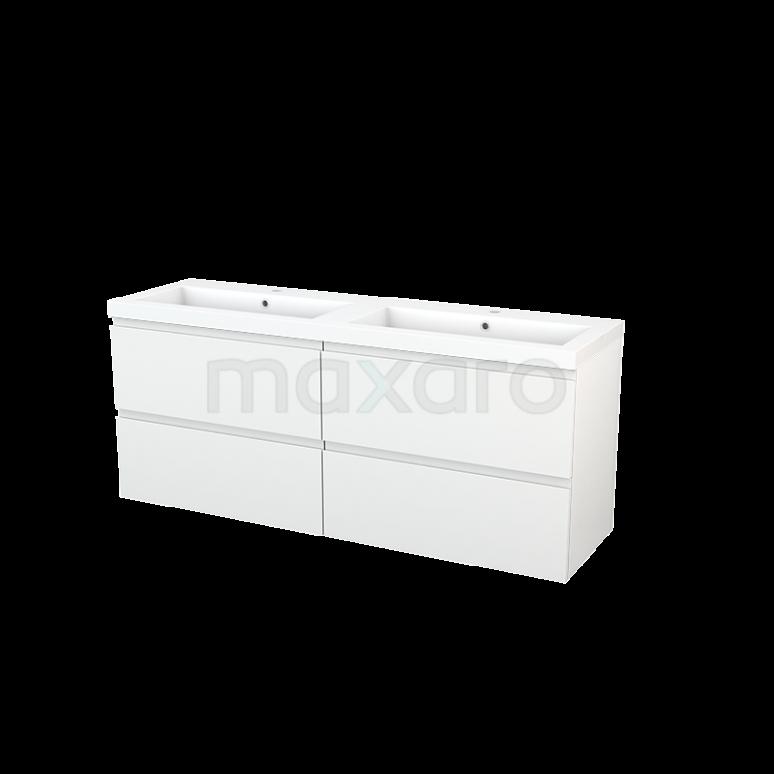 Badkamermeubel 160cm Modulo+ Hoogglans Wit 4 Lades Greeploos Wastafel Mineraalmarmer