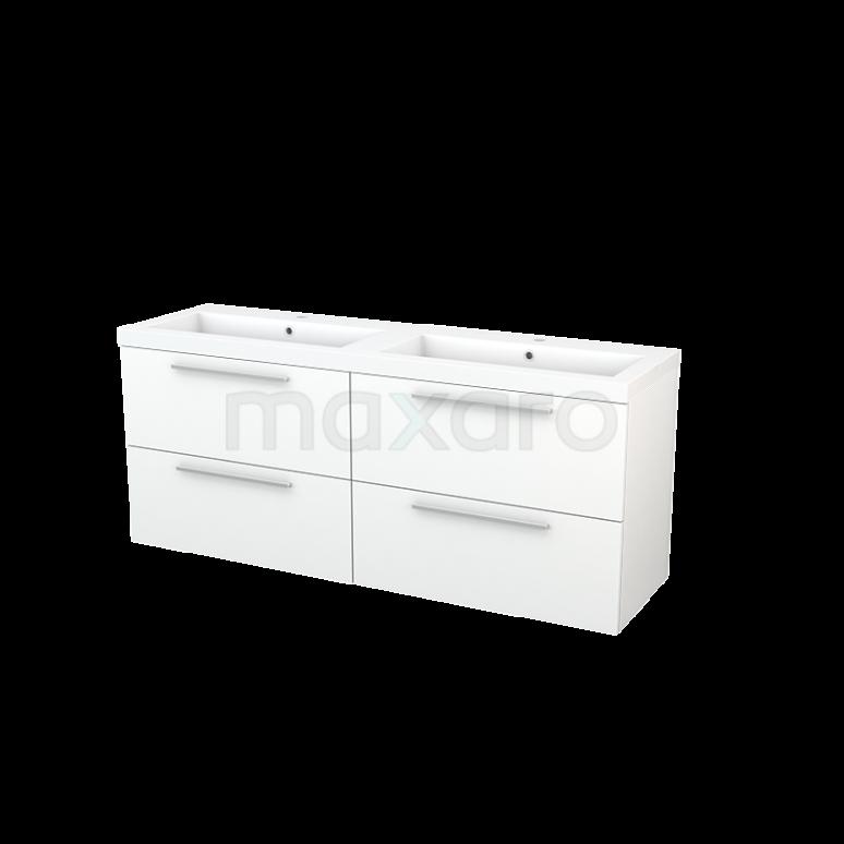 Maxaro Modulo+ BMP004238 Badkamermeubel 160cm Modulo+ Mat Wit 4 Lades Vlak Wastafel Mineraalmarmer