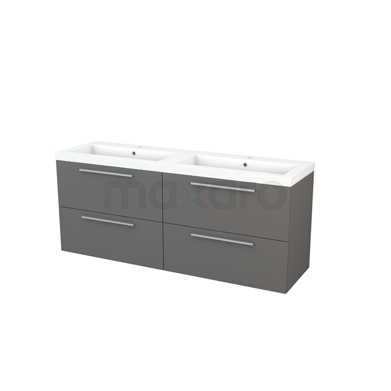 Badkamermeubel 160cm Modulo+ Basalt 4 Lades Vlak Wastafel Mineraalmarmer