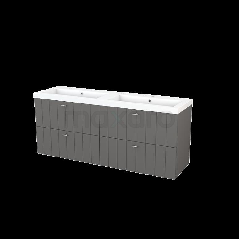 Badkamermeubel 160cm Modulo+ Basalt 4 Lades Lamel Wastafel Mineraalmarmer
