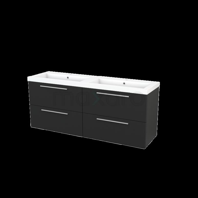 Badkamermeubel 160cm Modulo+ Carbon 4 Lades Vlak Wastafel Mineraalmarmer