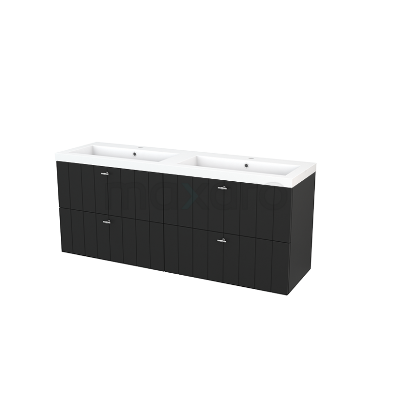 Badkamermeubel 160cm Modulo+ Carbon 4 Lades Lamel Wastafel Mineraalmarmer