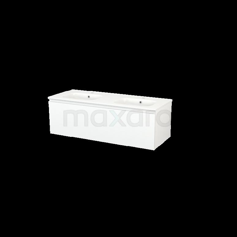 Maxaro Modulo+ BMP004277 Badkamermeubel 120cm Modulo+ Mat Wit 1 Lade Greeploos Wastafel Keramiek