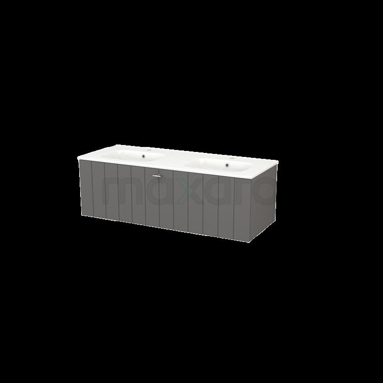 Badkamermeubel 120cm Modulo+ Basalt 1 Lade Lamel Wastafel Keramiek