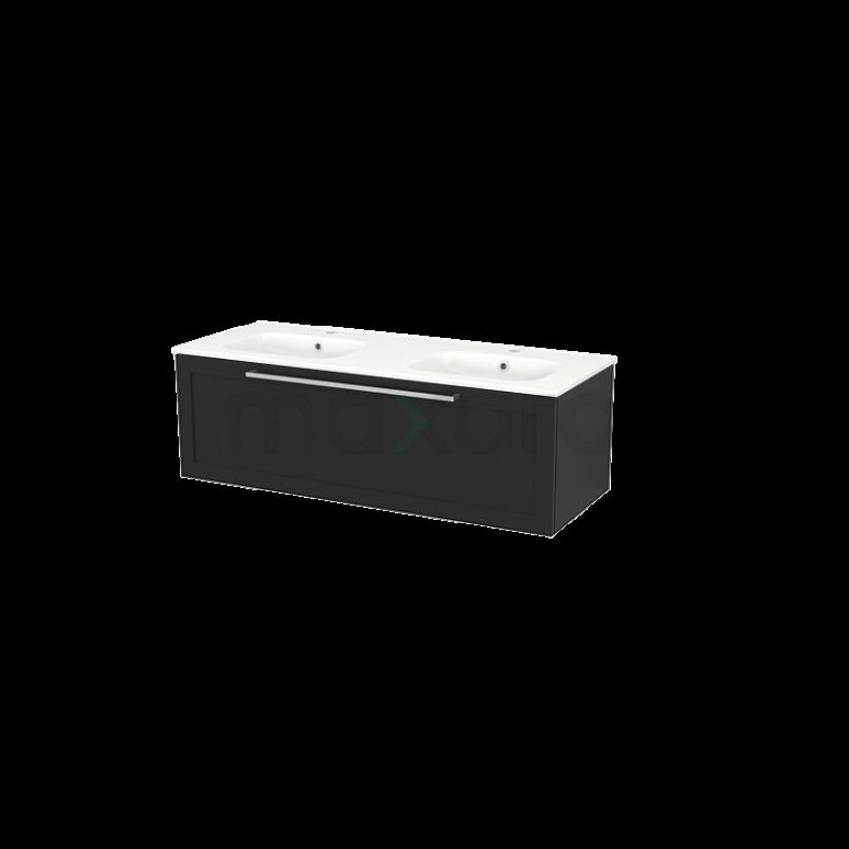 Badkamermeubel 120cm Modulo+ Carbon 1 Lade Kader Wastafel Keramiek