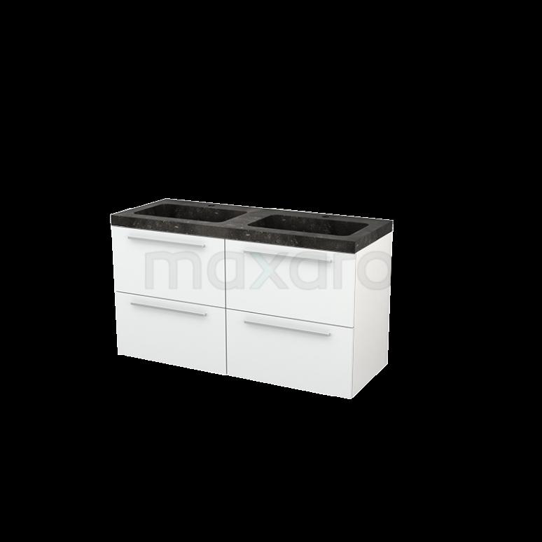 Badkamermeubel 120cm Modulo+ Hoogglans Wit 4 Lades Vlak Wastafel Natuursteen