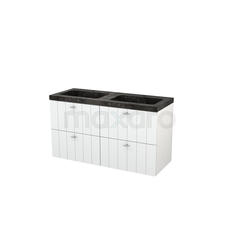 Badkamermeubel 120cm Modulo+ Hoogglans Wit 4 Lades Lamel Wastafel Natuursteen