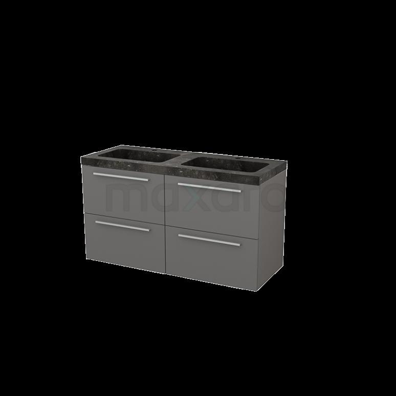 Badkamermeubel 120cm Modulo+ Basalt 4 Lades Vlak Wastafel Natuursteen