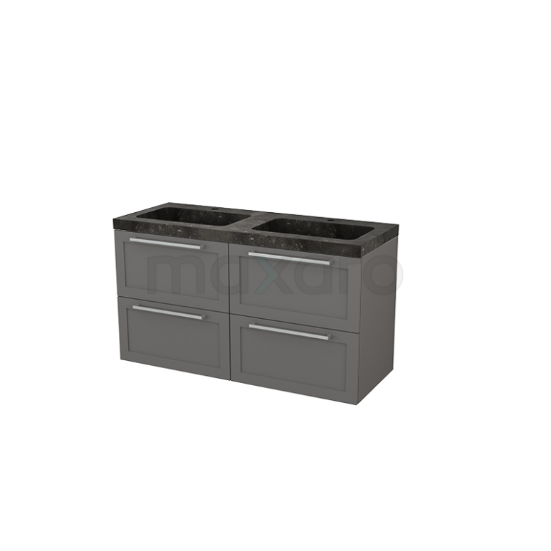 Badkamermeubel 120cm Modulo+ Basalt 4 Lades Kader Wastafel Natuursteen