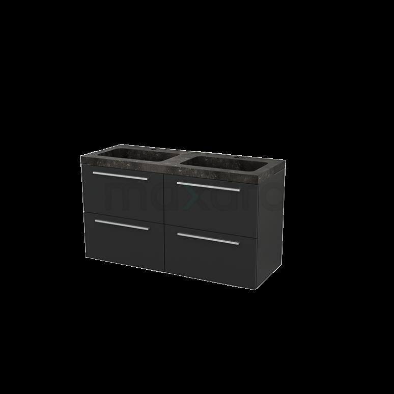 Badkamermeubel 120cm Modulo+ Carbon 4 Lades Vlak Wastafel Natuursteen