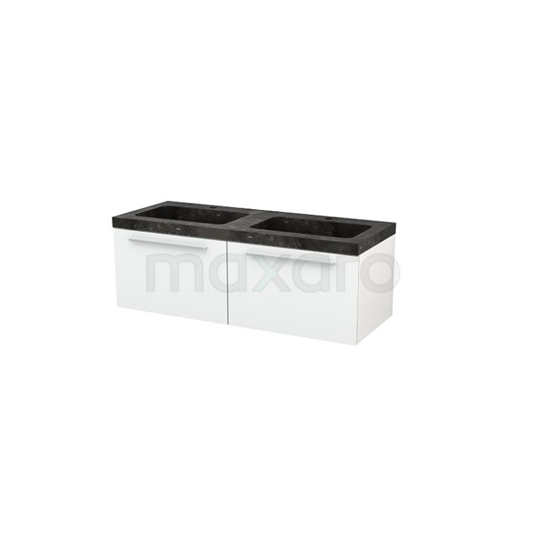 Badkamermeubel 120cm Modulo+ Hoogglans Wit 2 Lades Vlak Wastafel Natuursteen