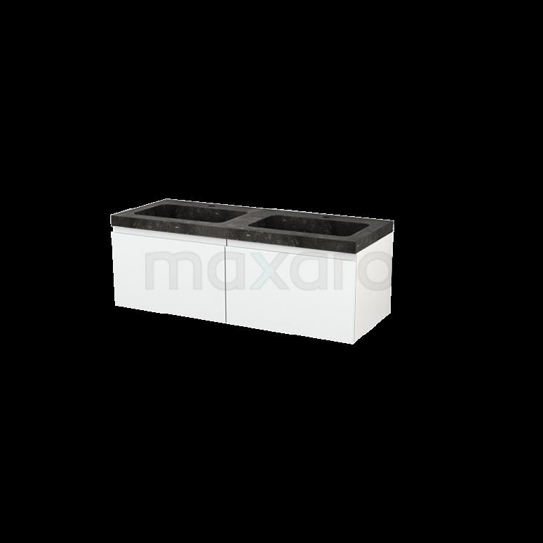 Badkamermeubel 120cm Modulo+ Hoogglans Wit 2 Lades Greeploos Wastafel Natuursteen