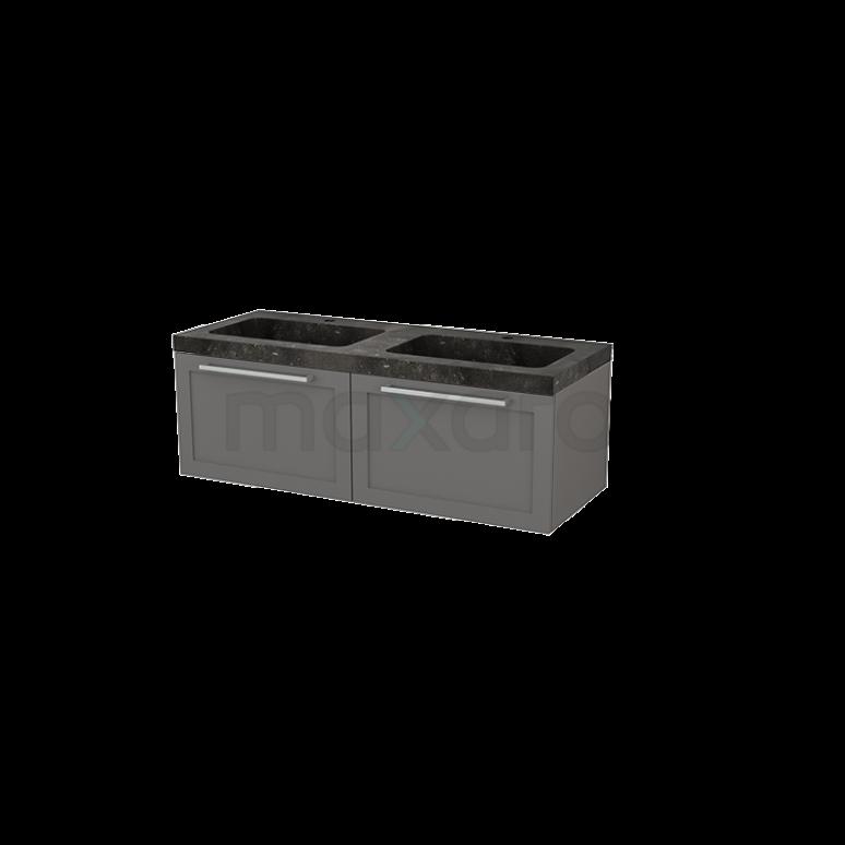 Badkamermeubel 120cm Modulo+ Basalt 2 Lades Kader Wastafel Natuursteen