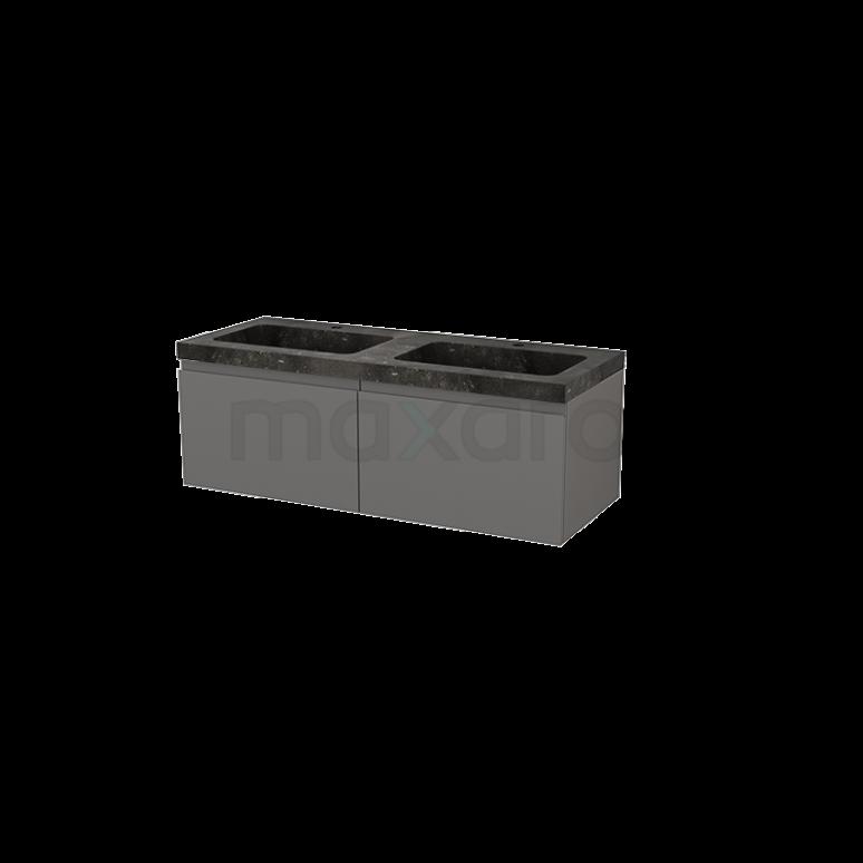 Badkamermeubel 120cm Modulo+ Basalt 2 Lades Greeploos Wastafel Natuursteen