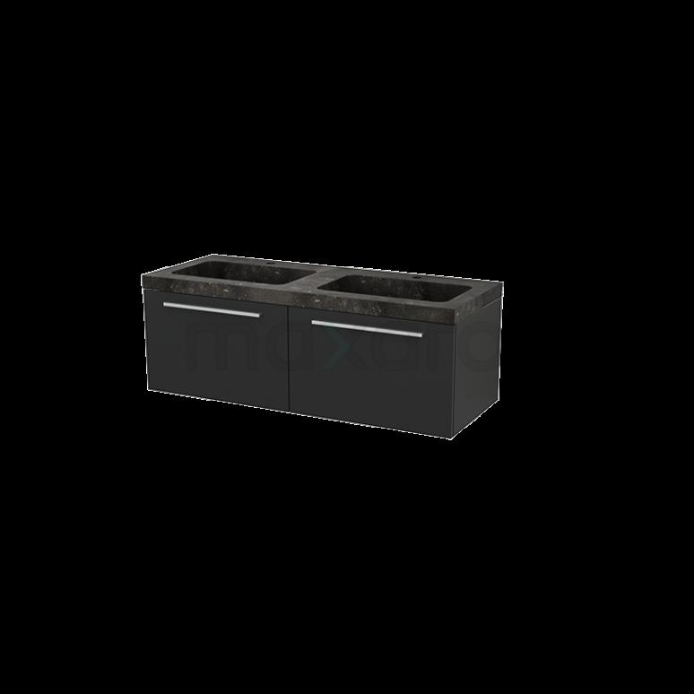 Badkamermeubel 120cm Modulo+ Carbon 2 Lades Vlak Wastafel Natuursteen