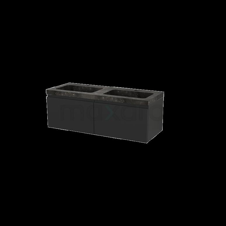 Badkamermeubel 120cm Modulo+ Carbon 2 Lades Greeploos Wastafel Natuursteen