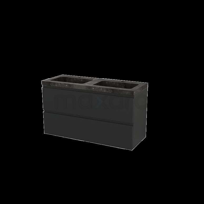 Badkamermeubel 120cm Modulo+ Carbon 2 Lades Greeploos Wastafel Natuursteen Blue Stone