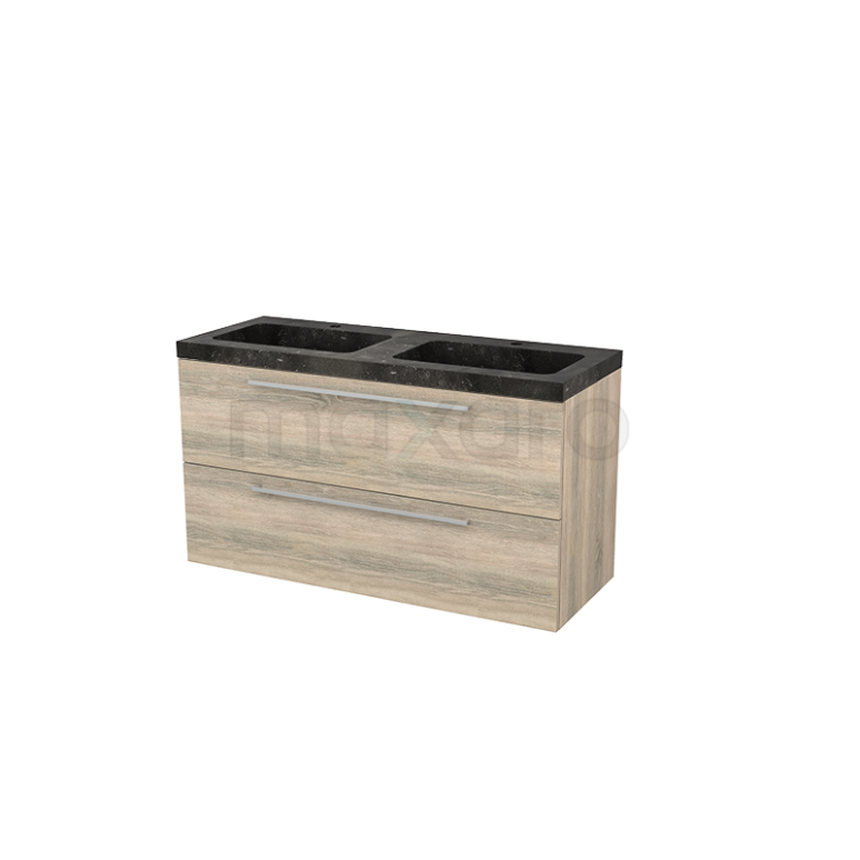 Badkamermeubel 120cm Modulo+ Eiken 2 Lades Vlak Wastafel Natuursteen Blue Stone
