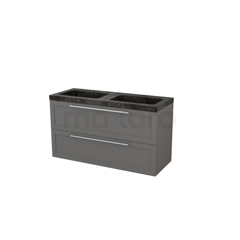 Maxaro Modulo+ BMP004340 Badkamermeubel 120cm Modulo+ Basalt 2 Lades Kader Wastafel Natuursteen Blue Stone