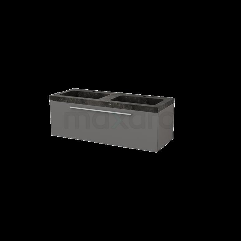 Badkamermeubel 120cm Modulo+ Basalt 1 Lade Vlak Wastafel Natuursteen Blue Stone