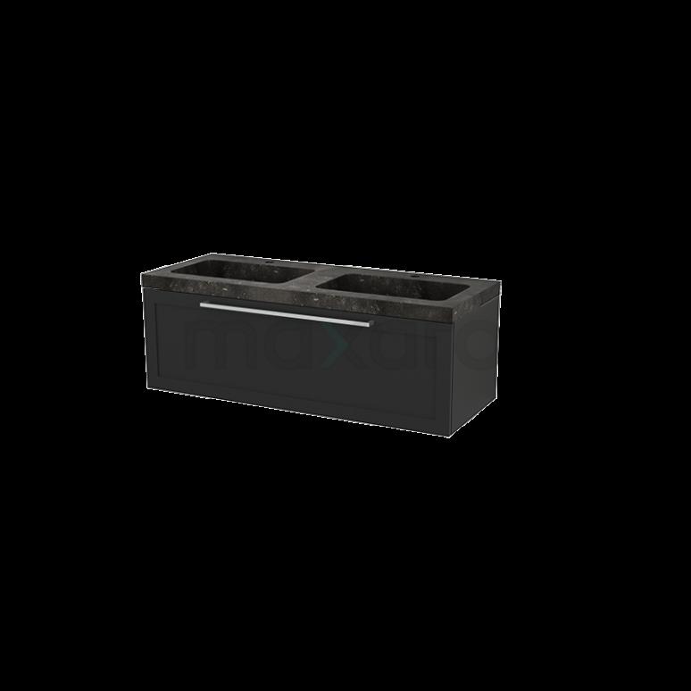 Badkamermeubel 120cm Modulo+ Carbon 1 Lade Kader Wastafel Natuursteen Blue Stone