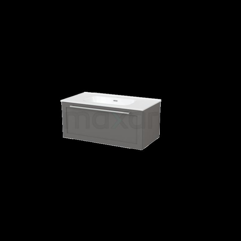Badkamermeubel 90cm Modulo+ Basalt 1 Lade Kader Wastafel Keramiek
