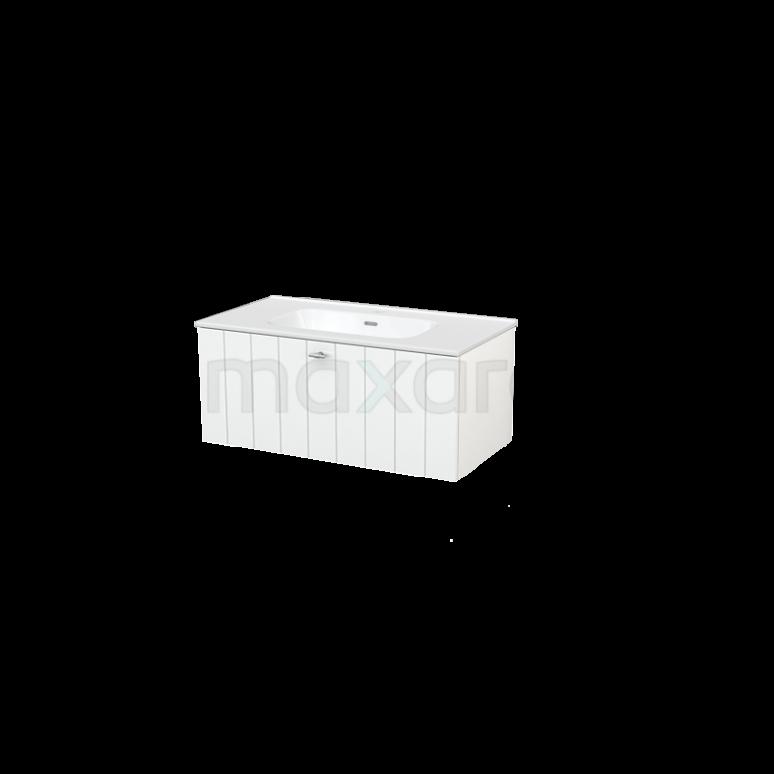 Badkamermeubel 90cm Modulo+ Hoogglans Wit 1 Lade Lamel Wastafel Keramiek