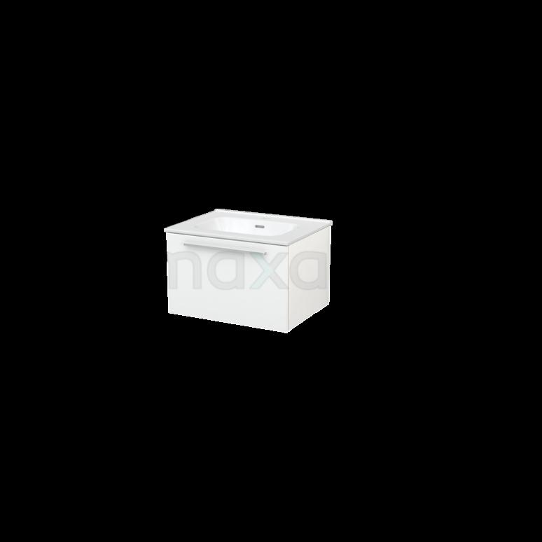 Badkamermeubel 60cm Modulo+ Hoogglans Wit 1 Lade Greeploos Wastafel Keramiek